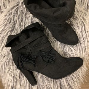 Express Faux Suede Black Booties